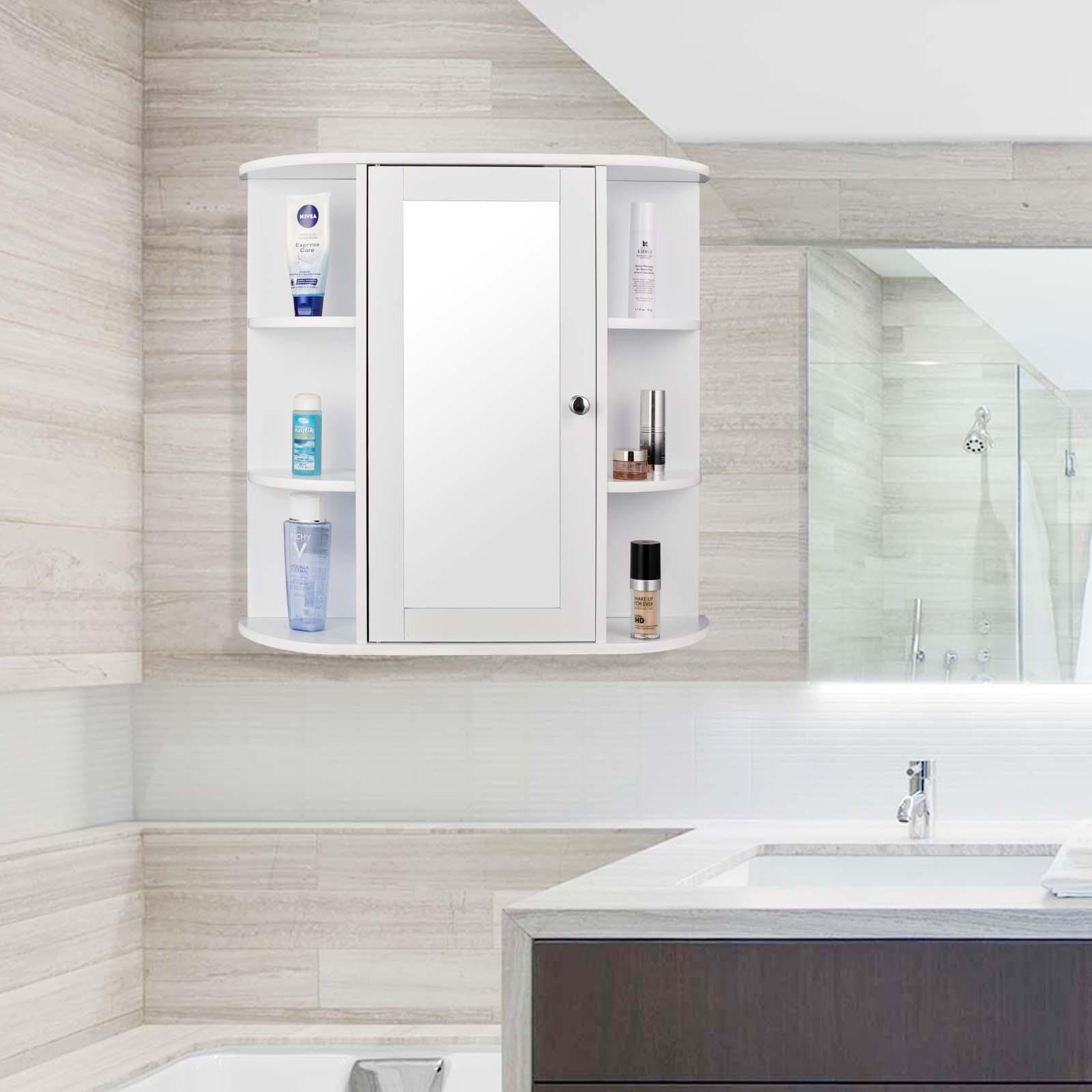 Détails sur Armoire de Toilette Suspendre Salle Bains Miroir Maquillage MDF  Bois 0022WY