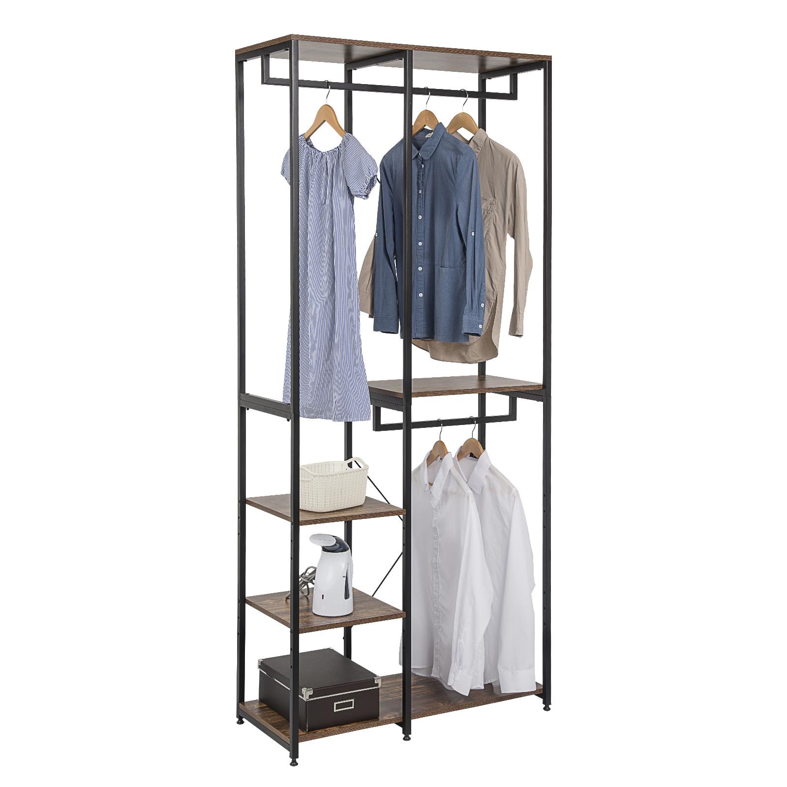 Kleiderständer Garderobenständer Kleidderstange Regal Metall mit Ablage e834